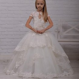 Wholesale Junior High Pageant Dresses - Vintage Lace Flower Girl Dresses For Weddings High Neck Appliques Junior Pageant Dress Girls Formal Prom Gowns