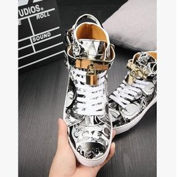 Wholesale Metal Help - new male leather high to help casual shoes youth high state camouflage metal lock shoes fashion men and women couple shoes