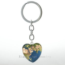 Wholesale Universe Ring - Planet Earth World Map Heart Pendant keychain vintage Map of Africa Europe maps Universe key chain ring African Jewelry gift H83