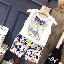 Wholesale Toddler Boys Sleeveless Vests - New Toddler Clothes Boys Clothing Sets white bow tie Vest Tops +Printed shorts pants casual Child Suit Children Outfit Baby Clothing A653