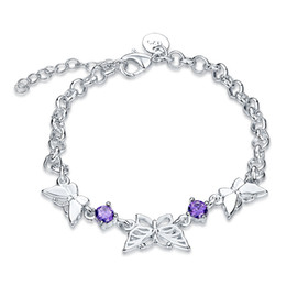 Wholesale Pretty Sweet - Sweet style charm bracelet with crystal zircon cute butterfly Pretty Birthday Gifts fine jewelry for women free shipping