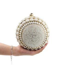 Wholesale Beaded Evening Purse Gold - Wholesale- Ball shape Beaded Women Evening Bags Diamond Pearl Day Clutch gold purse Party bride Wedding Crossbody shoulder Handbags Li430