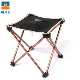 Wholesale Wholesale Foldable Chair - Wholesale- Outdoor Foldable Folding Fishing Picnic BBQ Garden Chair Tool Square Camping Stool 7075 Aluminium Alloy