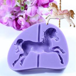 Wholesale Horse Mold - Wholesale- New Arrival Carousel Horse Silicone Fondant Mold Cake Decor Chocolate Baking Moulds 2016