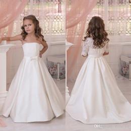 Wholesale Half Jackets Girls - Latest 2017 Ivory Strapless Flower Girls Dresses For Weddings With Detachable Lace Half Sleeve Jacket Bow Sash Custom Made