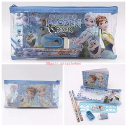 Wholesale Kids Pencils Sets - New 10 Set Cartoon 7 In 1 Frozen Elsa ANNA Princess Toys & Hobbies Kid Exam Stationery Set Pencil+Eraser+Notebook+Ruler+Case+Pen