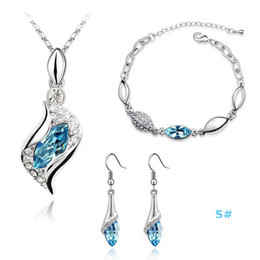 Wholesale Mix Hot Girls - Silver Jewelry Sets Hot Sale Crystal Earrings Pendant Necklaces Bracelets Set for Women Girl Party Gift Fashion Jewelry Wholesale 0006LD