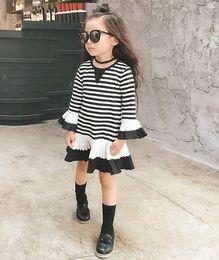 Wholesale Girls Korean Striped Dress - 2016 INNS Baby Girl Autumn Fashion Black & White Stripes Dress Pleated Dress Flare Sleeve Korean Style Skirt Cute Dresses 5Set lot Q0443