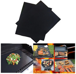 Wholesale Microwave Heat Pads - 33*40cm BBQ Grill Mat Non-Stick Reusable BBQ Cover Cooking Baking Microwave Mats Resuable Barbecue Sheet Pad Heat Resistance Grill Mat