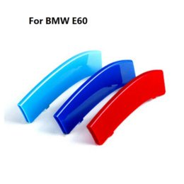 Wholesale Vinyl M - 3D M Styling Car Front Grille Trim Sport Strips Cover Motorsport Power Performance Stickers for 2004-2010 BMW 5 Series E60