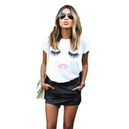 Wholesale Shortest Eyelash - fashion sex LIP & Eyelash print t-shirts for women tops plus size off which black crop tops funny print short sleeve tshirt WT20 WR