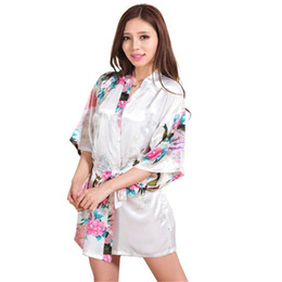 101c5698d9a China Wholesale- White Chinese Women Silk Rayon Mini Robe Sexy Kimono Bath  Gown Intimate Lingerie