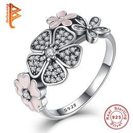 настоящие цветочные кольца Скидка BELAWANG Оптовая#678 реальный 100% 925 стерлингового серебра эмаль Дейзи заявление кольцо Кристалл цветок кольца для женщин обручальное свадебные украшения