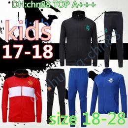 Wholesale Child Jackets - 2017 2018 Kids HAZARD jackets sets Real madrid KIDS soccer LUKAKU POGBA tracksuit United 17 18 RONALDO KROOS child training man Utd jackets