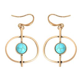 Wholesale 14k Gold Filled Hoop - Bohemia Retro Style Beach Necessary Big Earrings Summer Turquoise Basic Joker Stud Earrings Factory Direct Sale Free Shipping