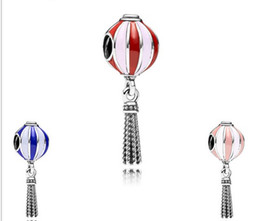 Wholesale Fire Balloon Necklace - Fit Pandora Charm Bracelet European Silver Bead Charms Fire Balloon Dangle 925 Beads DIY Snake Chain For Women Bangle & Necklace Jewelry
