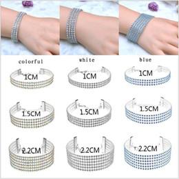 Wholesale Layered Chain Wholesale - Hot Women Tennis Bracelet Necklace Charming Fashion Layered Full Blue Colorful Rhinestone Link Chains Bracelets Bangles Wholesale
