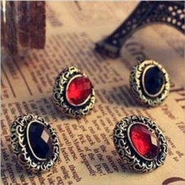 Wholesale Fine Black Ladies - Vintage Lady Bronze Carved Hollow Out Oval Earrings Red Black Crystal Gem Ear Stud Earrings Retro Style Fine Jewelry Earing Ear Accessories