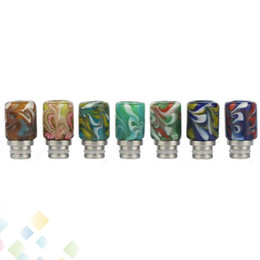 Wholesale Wholesale Painted Glasses - Hot Selling 510 Pyrex Glass SS Drip Tips Colorful Artglass Drip Tips 7 Colors Mouthpieces Electronic Cigarette Painted Drip Tip DHL Free
