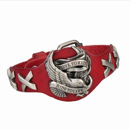 Wholesale Cool Gift Wrap - 4 Colors Cool Men's Punk Harley Rider Cowboy Leather Wrap Bracelet - Live To Ride - Eagle Charm Motorcycle Bracelet Wristband