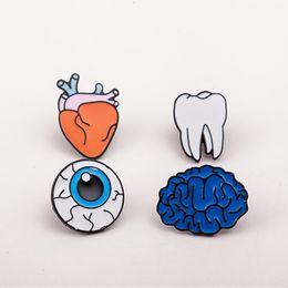 Wholesale Eye Pins For Jewelry - 1PC Zinc Alloy Enamel Eye Teeth Brain Heart Brooches Pins Human Body Organs For Womens Jewelry Needle Brooch Lapel Pin Collar