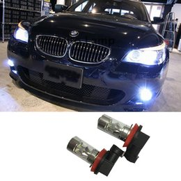 Wholesale Bmw Led Daytime Running Lights - New Super Bright H11 H8 Double Curved Surface Reflector Cup LED Auto Front Fog Lamps Car Daytime Running Light DRL Driving Bulb
