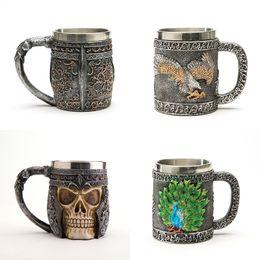 Wholesale Halloween Skeleton Heads - Halloween Decor Gift 3D Skeleton Head Coffee Mugs Creative Cup Vintage Stainless Steel Crafts Unique Coffee Mugs 3 Options