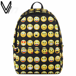 girl smile cartoon Coupons - Wholesale- 2016 3D Printing Backpacks For Women Emoji Smile Face Bags School Casual Daypacks Children Canvas Backpacks For Teenage Girls
