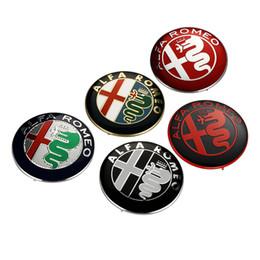 Wholesale Stickers For Car Badge Emblems - 2pcs Black white New 74mm 7.4cm ALFA ROMEO Car Logo emblem Badge sticker for ALFA ROMEO Mito 147 156 159 166 Giulietta Spider GT