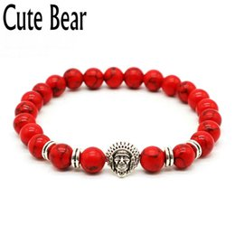 Wholesale Indian Head Charms - Wholesale- Cute Bear Antique Silver Indian Head Bracelets For Women Red Bead Frosted Stone Elastic Rope Beaded Bracelets Women Jewelry