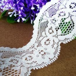 Wholesale Apparel Tape - 15 yds lot 5cm Width Stretch Lace Trim Inelastic Tape Ribbon Off White Lace trim(EL015) Flower costume Apparel Sewing Crafts Boutique Decor