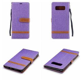 Custodia a portafoglio in pelle ibrida per Galaxy Note8 Note 8 Custodia in tessuto per telefoni cellulari in stoffa Hit Colore TPU Slot per scheda Flip Skin Esotico Sport Animal da