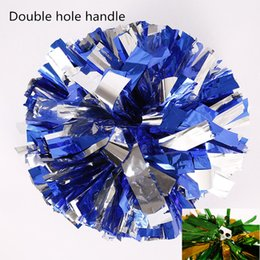 Wholesale Wholesale Athletic Supplies - wholesale10pcs lot 120g metal color athletic outdoor accs big game pompoms cheering pompom with baton handle quality cheerleading supplies