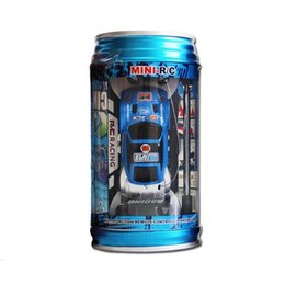 Wholesale Can Scale - 7 Colors Coke Can RC Car Radio Remote Control Car Micro Racing Car Toy 4pcs Road Blocks Kid's Toys Gifts free DHL