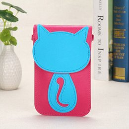 Wholesale Shoulder Strap Bag Leather - Wholesale- PU Leather Cell Phone Bag Cartoon Cat Appliques Magnetic button Pocket Wallet Pouch Case Neck Strap Shoulder Bags For Women