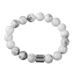 Wholesale Turquoise Jewelry Sold - Top Selling Zodiac Sign Aquarius Jewelry White Turquoise Bead Bracelet For Fashion Jewelry