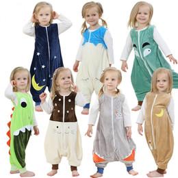 Wholesale Baby Winter Sleep Bag - Cartoon cute pajamas newborn children sleeping bags cotton uniforms flannel baby anti-kick pajamas