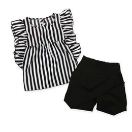 Wholesale Ladies Summer Outfits - Girls fashion striped Ruffled cuff vest 2pc set black white stripe pullover falbala shirt+black pants little lady summer casual outfits