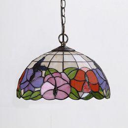 Wholesale vintage flower lamp - FUMAT Flower & Butterfly Lamp European Vintage Stained glass Kitchen Pendant Lights Warm Bar Living Room Pendant Lamps