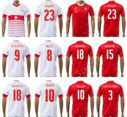 Wholesale Soccer Jersey National - 17 18 Switzerland Jersey Soccer Uniform National Team Swiss Football Shirts 10 SHAQIRI 9 SEFEROVIC 8 INLER 2 DJOUROU 23 SHAQIRI 27 ZUFFI