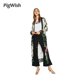 Wholesale Sheer Floral Lace Tops - PigWish 2017 Long Kimono Cardigan Women Blouses Flower Print With Sashes Blouse Women Summer Tops Camisas Mujer