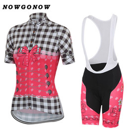 Wholesale flowers mountains - Women cycling jersey set pretty Flowers grid pink clothing bike wear girl lady pro road mountain Triathlon NOWGONOW gel pad bib shorts