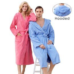 Wholesale Thick Robes - Hooded Toweled bathrobes cotton men robe autumn and winter waste-absorbing thick soft bathrobe