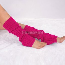 Wholesale Knee High White Boots Cheap - Wholesale- Hot 2017 New Fashion Women Winter Knit Crochet Leg Warmers warm leggings punk rock Knee High Trim Boot Casual Legging Cheap D11