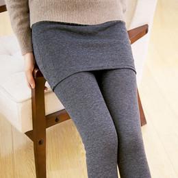 Wholesale Ankle Length Skirted Leggings - Wholesale- Women Casual Warm Winter Velvet Legging Knitted Thick Slim Leggings Super Elastic With Mini Skirts