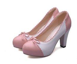 Wholesale Ladies Retro Sandals - retro round toe women sandals sweet square heel bowtie shoes ladies brand quality heeled footwear