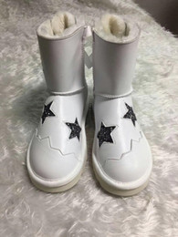 Wholesale Wool Lined Snow Boots - Stella Mccartney Snow Boots Women Casual Shoes Cowskin Leather Glitter Star High Quality Wool Lining