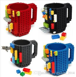 Wholesale Eco Green Lighting - Hot sale Drinkware Building Blocks Mugs DIY Block Puzzle Mug 350Ml Build-On Brick creative Mug Lego Type Coffee Cup b686