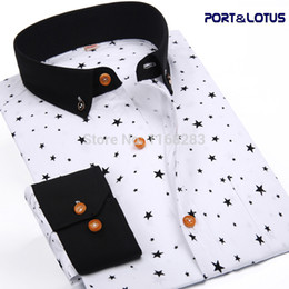 Wholesale Port Fashion - Wholesale- Port&Lotus Men Shirt New Fashion Long Sleeve Polka Dot Star Slim Fit 085 QS Men clothes Chemise Homme Camisa Masculina wholesale