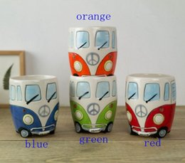 Wholesale Eco Friendly Coffee Cups Wholesale - Cartoon Double Decker Bus Mugs Hand Painting Retro Ceramic Cup Coffee Milk Tea Mug Drinkware Novetly Gifts